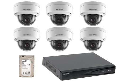 4 Megapixel 6-Cameras Hikvision CCTV kit - Dome IP Cameras (DS-2CD1143G0-I F2.8)