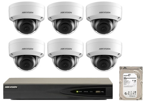8 Megapixel 6-Cameras Hikvision CCTV kit - Dome 4K IP Cameras (DS-2CD2185FWD-I F2.8) with 4-Channel NVR (Plug-n-Play) and 2 TB Hard Drive (IP-8MP-DOME-KIT-x6-HE)