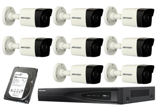 4 Megapixel 8-Cameras Hikvision CCTV kit - Bullet IP Cameras (DS-2CD1043-I F2.8)