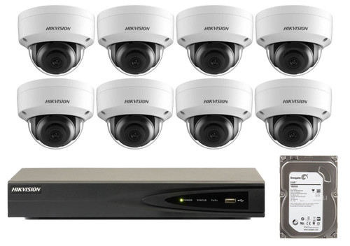 8 Megapixel 8-Cameras Hikvision CCTV kit - Dome 4K IP Cameras (DS-2CD2185FWD-I F2.8) with 4-Channel NVR (Plug-n-Play) and 2 TB Hard Drive (IP-8MP-DOME-KIT-x8-HE)