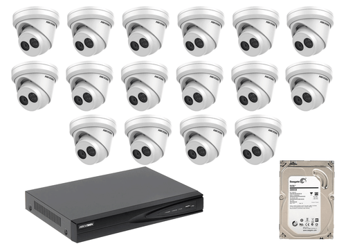 4 Megapixel 16-Cameras Hikvision CCTV kit - Dome IP Cameras (DS-2CD2345FWD-I F2.8) with 16-Channel NVR (Plug-n-Play) and 2 TB Hard Drive