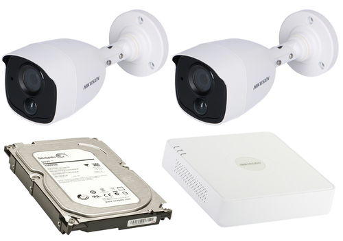2 Megapixel 2-Cameras Hikvision CCTV kit - Bullet Turbo HD Cameras (DS-2CE11D8T-PIRL F2.8) with 4-Channel DVR and 1 TB Hard Drive