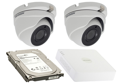 2 Megapixel 2-Cameras Hikvision CCTV kit - Dome Turbo HD Cameras (DS-2CE56D8T-ITMF F2.8) with 4-Channel DVR and 1 TB Hard Drive