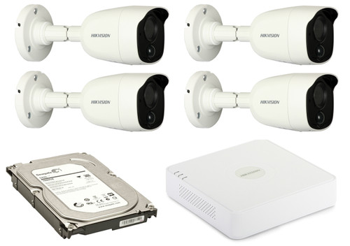 2 Megapixel 4-Cameras Hikvision CCTV kit - Bullet Turbo HD Cameras (DS-2CE11D8T-PIRL F2.8) with 4-Channel DVR and 1 TB Hard Drive
