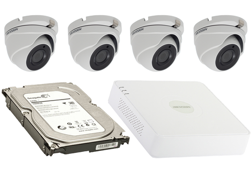 2 Megapixel 4-Cameras Hikvision CCTV kit - Dome Turbo HD Cameras (DS-2CE56D8T-ITMF F2.8) with 4-Channel DVR and 1 TB Hard Drive