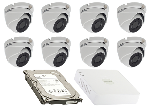 2 Megapixel 8-Cameras Hikvision CCTV kit - Dome Turbo HD Cameras (DS-2CE56D8T-ITMF F2.8) with 8-Channel DVR and 2 TB Hard Drive