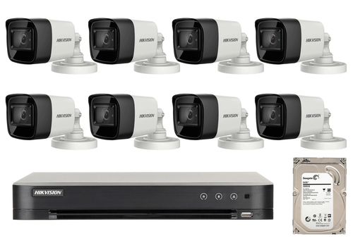 8 Megapixel 8-Cameras Hikvision CCTV kit - Bullet Turbo HD Cameras (DS-2CE16U1T-ITF F2.8) with 8-Channel DVR and 2 TB Hard Drive
