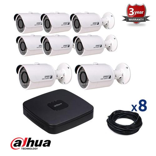 8 INDOOR/OUTDOOR DAHUA IP CAMERAS CCTV KIT, 4 MEGAPIXELS, POE, IR NIGHT VISION UP TO 30 METERS, 8CKD4421SP