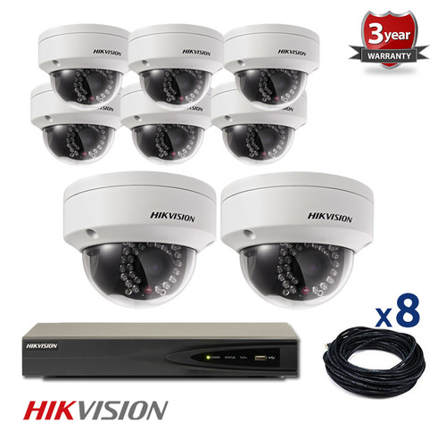 8 INDOOR/OUTDOOR IP HIKVISION DOME CAMERAS CCTV KIT, 4 MEGAPIXELS, POE, IR NIGHT VISION UP TO 30 METERS, 8CKH2142