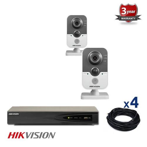 2 INDOOR IP HIKVISION CUBE CAMERAS CCTV KIT, 3 MEGAPIXELS, POE, NIGHT VISION UP TO 10 METER, 2CKH2432