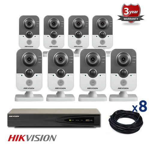 8 INDOOR IP HIKVISION CUBE CAMERAS CCTV KIT, 3 MEGAPIXELS, POE, NIGHT VISION UP TO 10 METER, 8CKH2432
