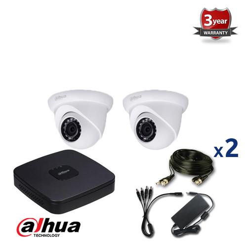 2 INDOOR/OUTDOOR 2.4 MEGAPIXELS DAHUA HD-CVI CAMERAS CCTV KIT, IR NIGHT VISION UP TO 30 METERS, HD-CVI2220M2, EU plug
