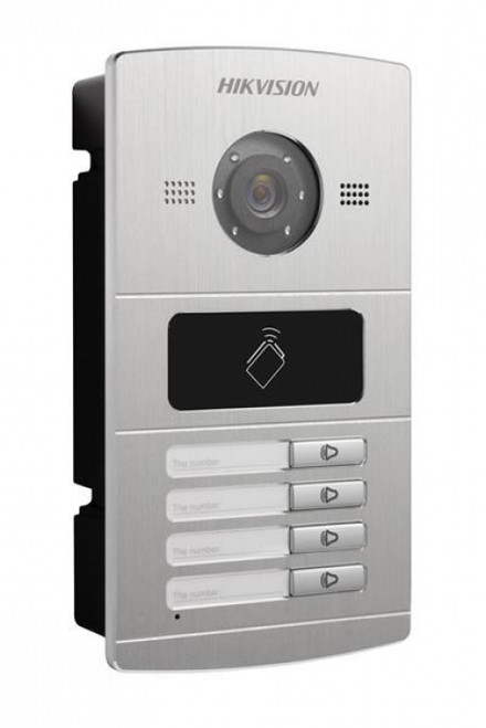 IP VIDEO INTERCOM DOOR STATION CAMERA HIKVISION DS-KV8402-IM, FOUR ACCESS NUMBERS, 1.3 MEGAPIXEL, NIGHT VISION, ALARM, RFID