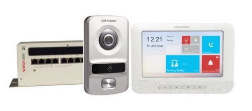 Hikvision IP Video intercom kit, 1.3 megapixel ,  HD entry monitor ,  VIDEO/AUDIO Distributor, 8KH306