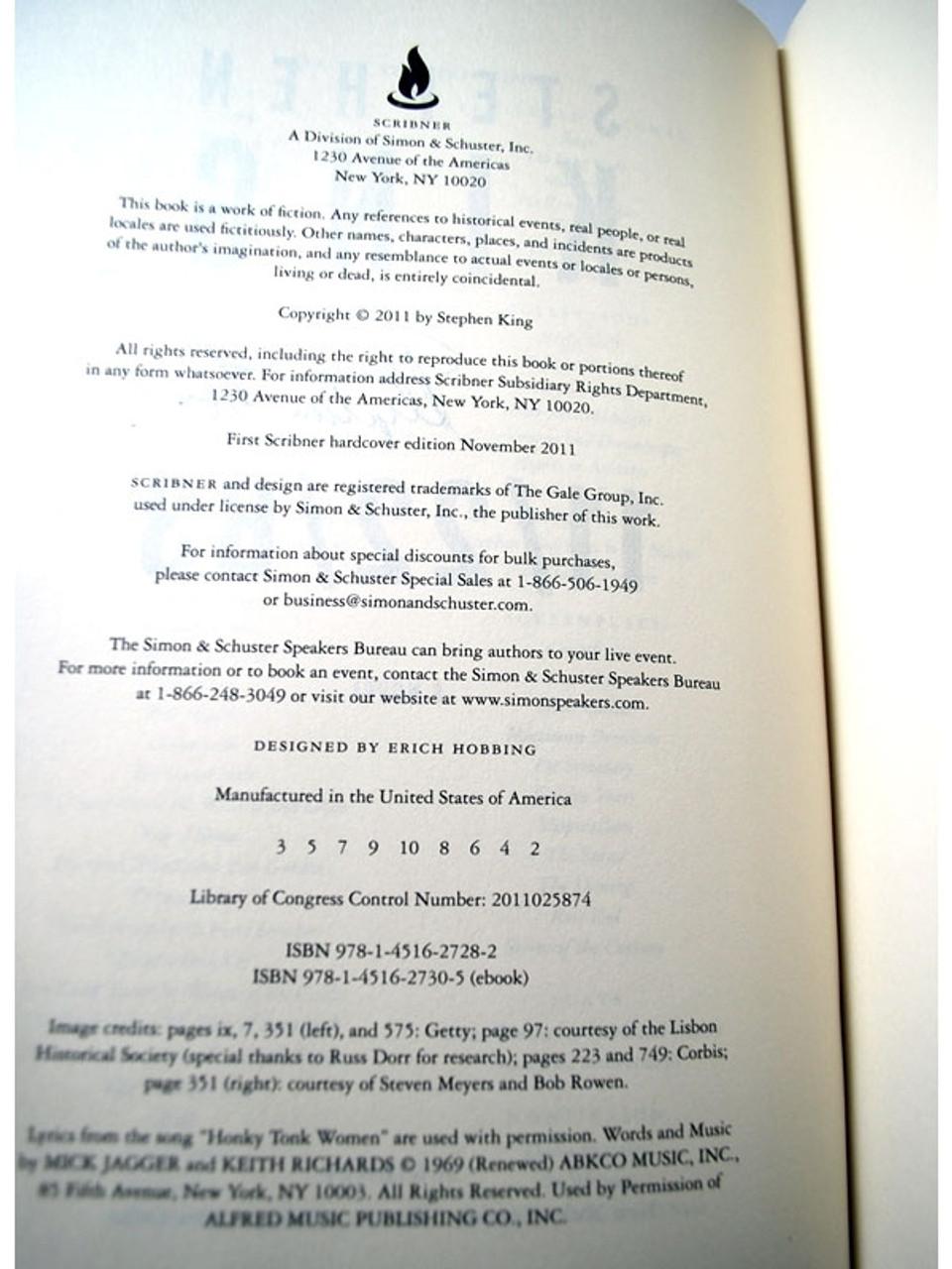 "Scribner ""11/22/63"" Stephen King, Signed First Edition, Second, dj/HC in Slipcase (Very Fine/Very Fine)"