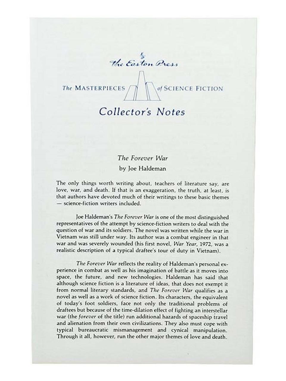 "Easton Press, Joe Haldeman ""The Forever War""  Leather Bound Collector's Edition"