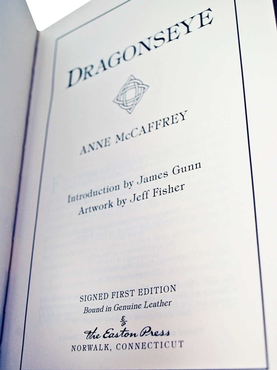 """Anne McCaffrey """"Dragonseye"""" Signed First Edition, Leather Bound Collector's Edition No.1062 of only 1,100 w/COA"""