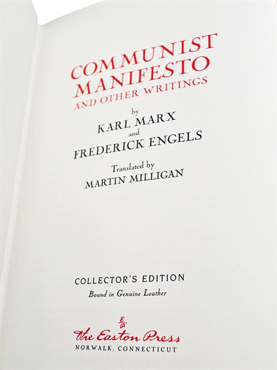 Easton Press The Communist Manifesto And Other Writings Karl Marx [Very Fine]