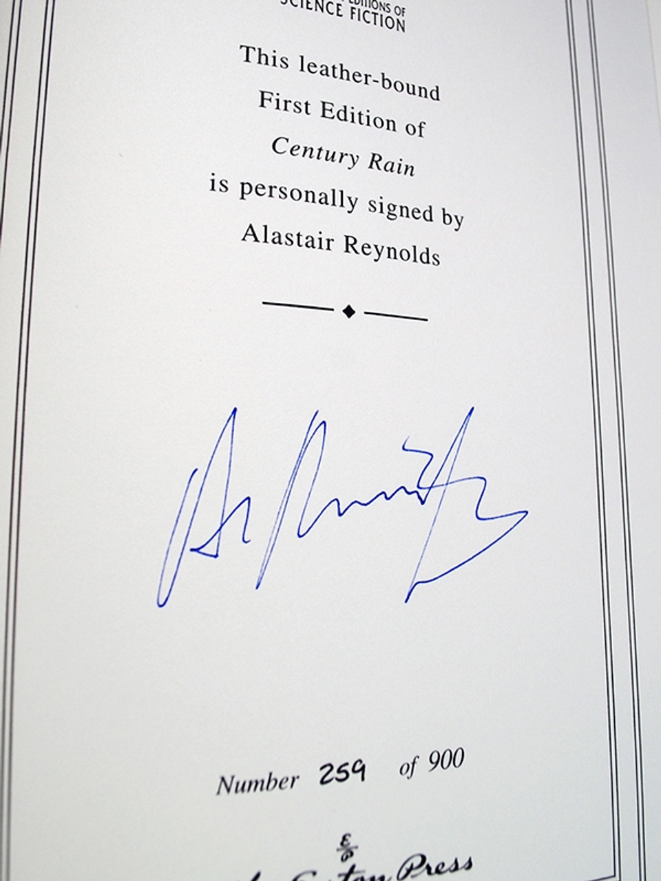 """Easton Press, Alastair Reynolds """"Century Rain"""" Signed First Edition, Leather Bound Collector's Edition w/COA"""