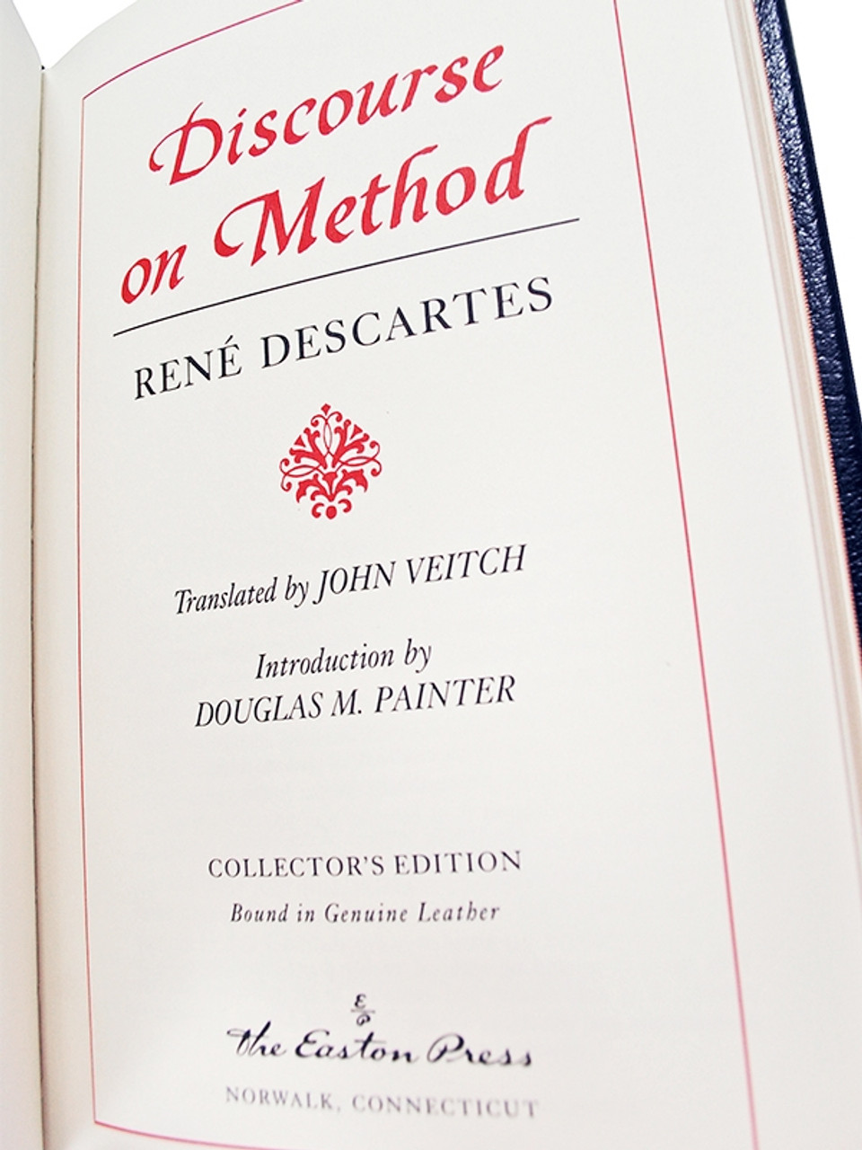 """Rene' Descartes """"Discourse On Method"""" Leather Bound Collector's Edition"""