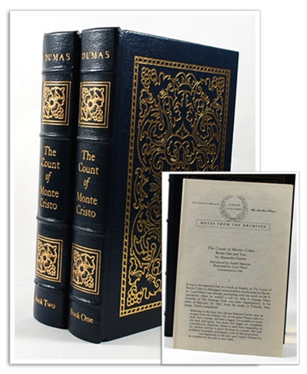 """Easton Press """"Count of Monte Cristo"""" Alexandre Dumas, 2 Vols: 1941 First Edition, Leather Bound Complete Matching Set"""