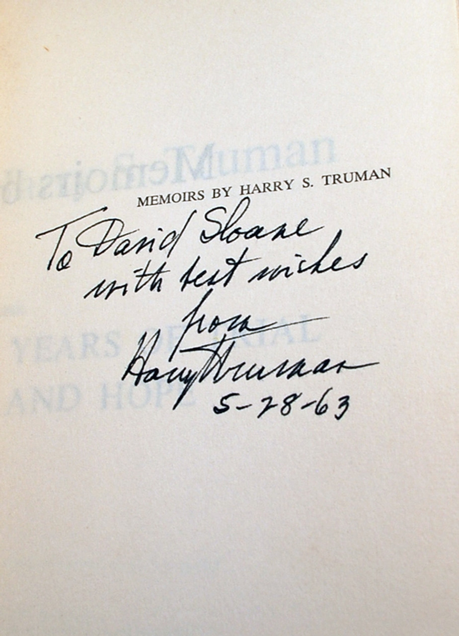 "Harry S. Truman ""Memoirs by Harry S. Truman"" Signed First Limited Edition, Two-Volume Set"