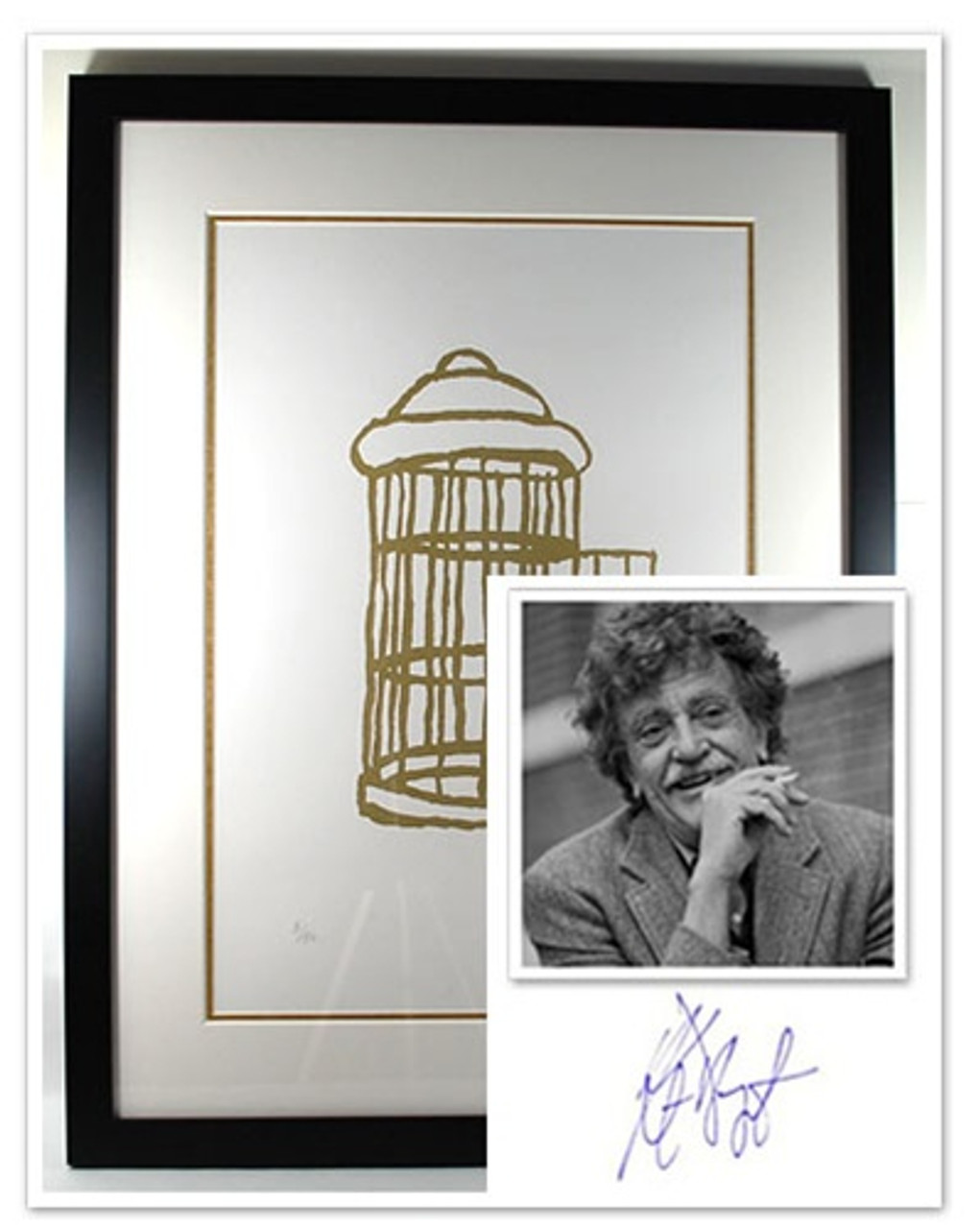 """Kurt Vonnegut Signed Limited Edition """"Gilded Cage"""" Silkscreen #5/50 , Double Matted in Museum Quality Glass"""