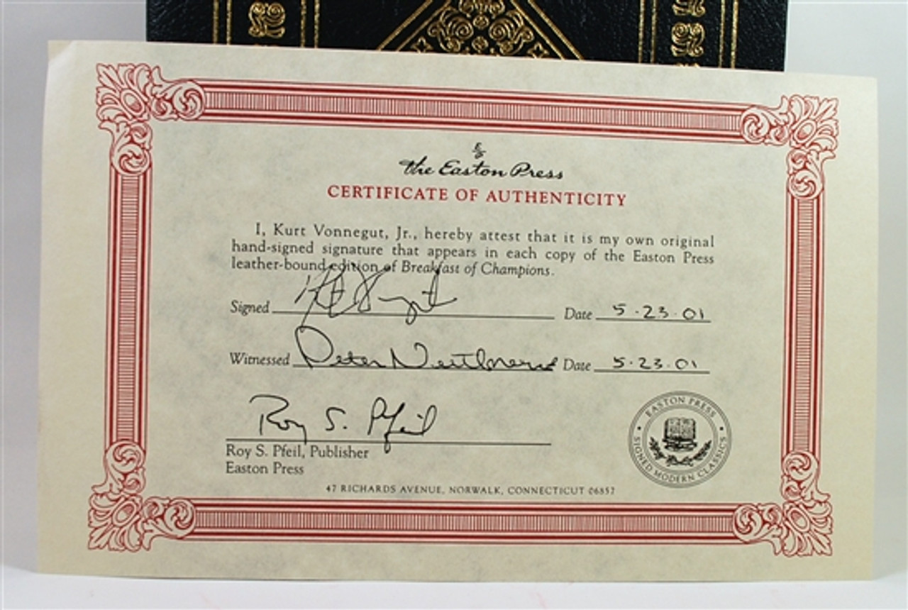 """Easton Press, Kurt Vonnegut """"Breakfast of Champions"""" Signed Limited Edition, Very Fine w/COA and Collector's Notes"""