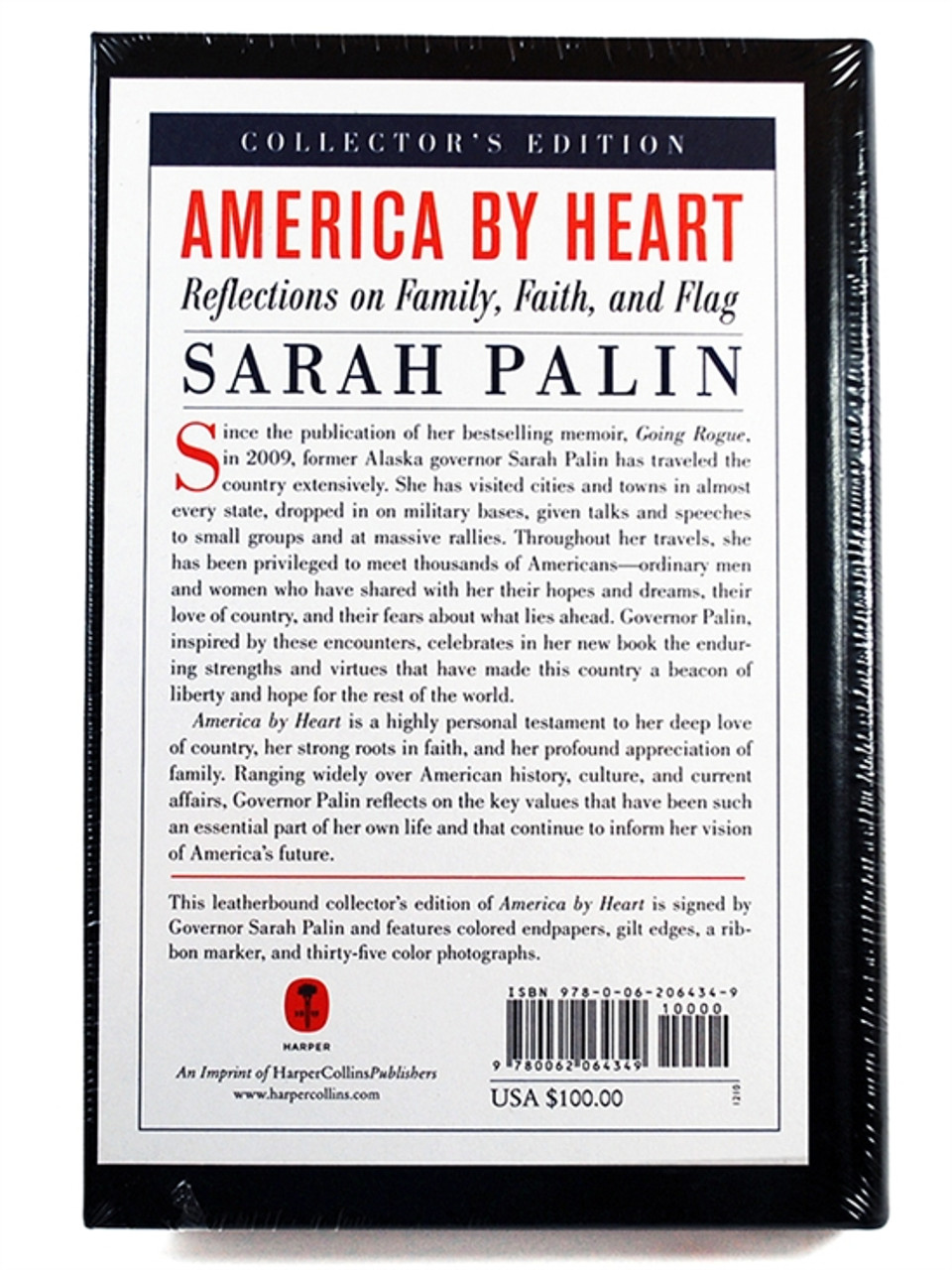 """Sarah Palin """"America by Heart"""" Signed First Edition, First Printing. S/L of 1,000"""