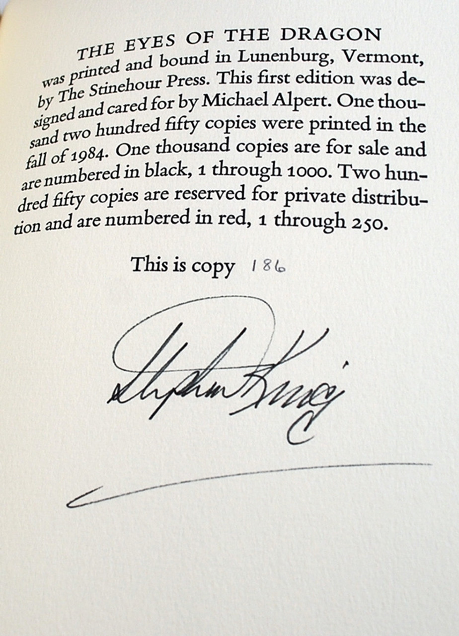 "Stephen King ""The Eyes of the Dragon"" Signed Limited Edition"