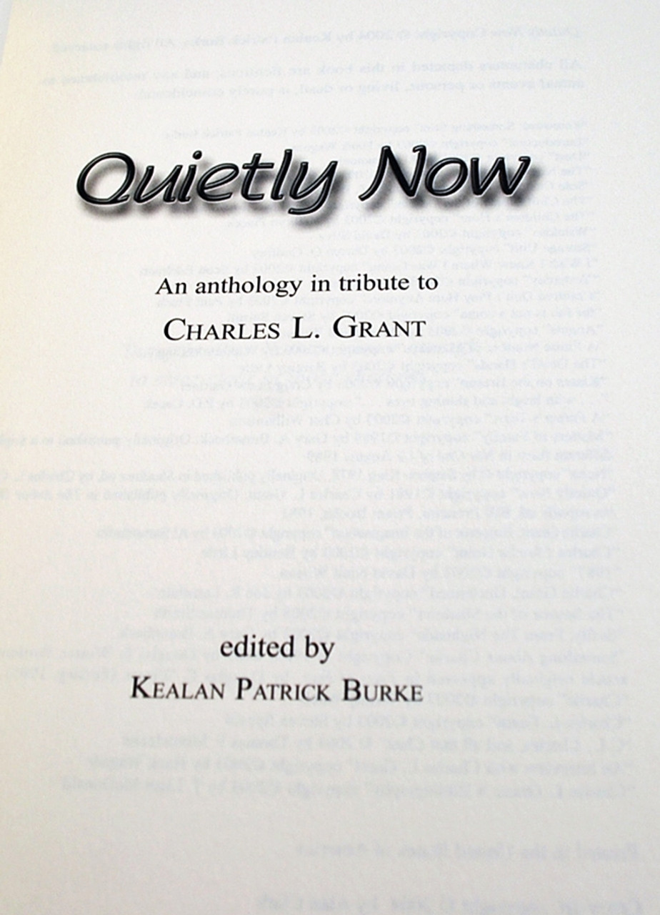 """Quietly Now"" Signed Limited Edition by Borderlands Press [Very Fine]"