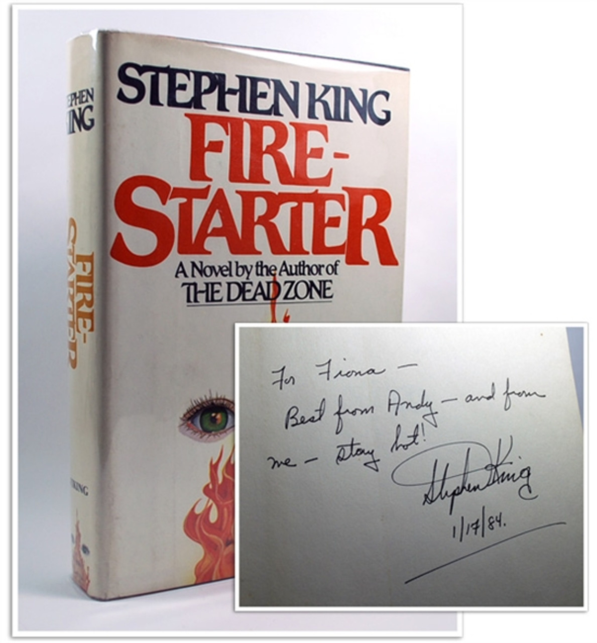"Stephen King ""Firestarter"" Signed First Edition, 4th printing, dj/HC, Fine/NFine"