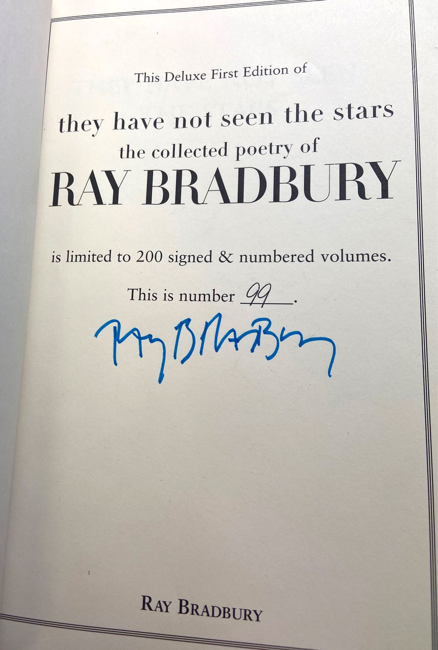 """Ray Bradbury """"They Have Not Seen the Stars"""" Signed Limited Deluxe First Edition, No. 99 of 200, Slipcased [Very Fine]"""