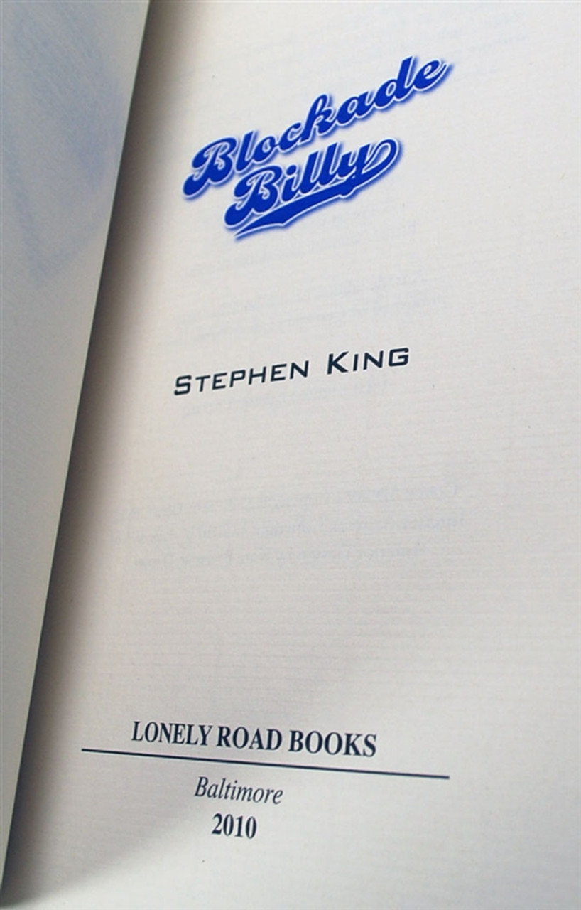 """Stephen King, """"Blockade Billy"""" Signed Limited Edition"""