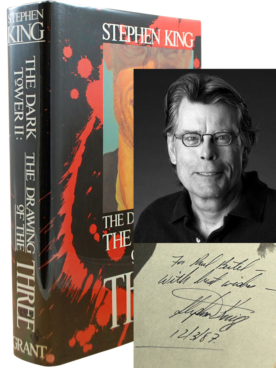 """Stephen King """"The Dark Tower II: The Drawing of the Three"""" Signed First Edition, First Printing, Tray-cased w/COA [Fine/Fine]"""