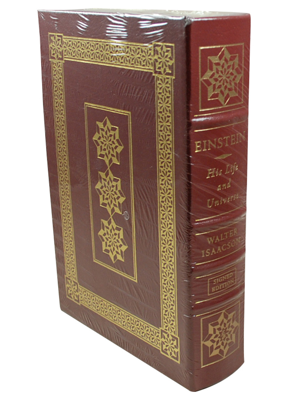Side image of Einstein His Life and Universe with binding exposed on the right side. Maroon book with gold rim.