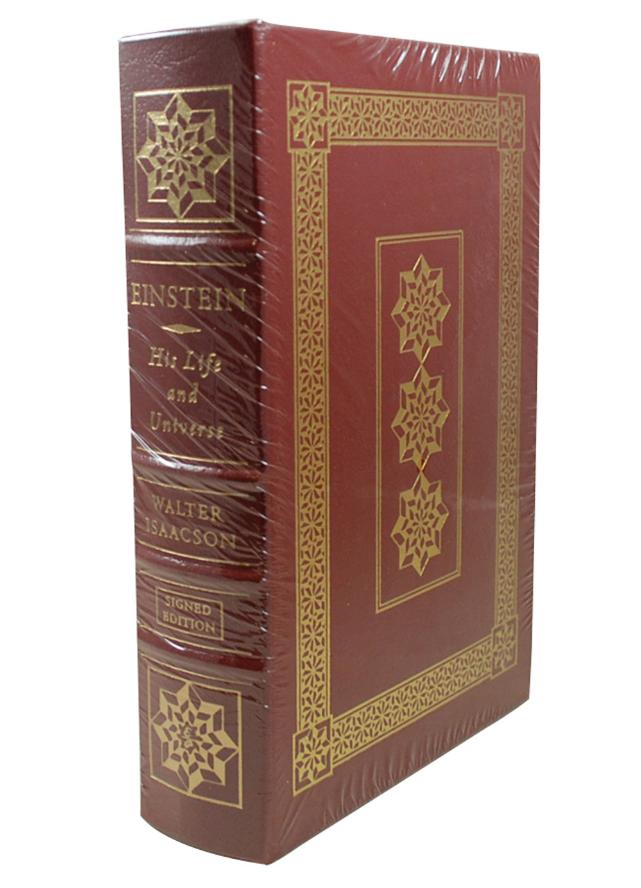 front image of Einstein His Life and Universe with binding exposed. Maroon book with gold rim.