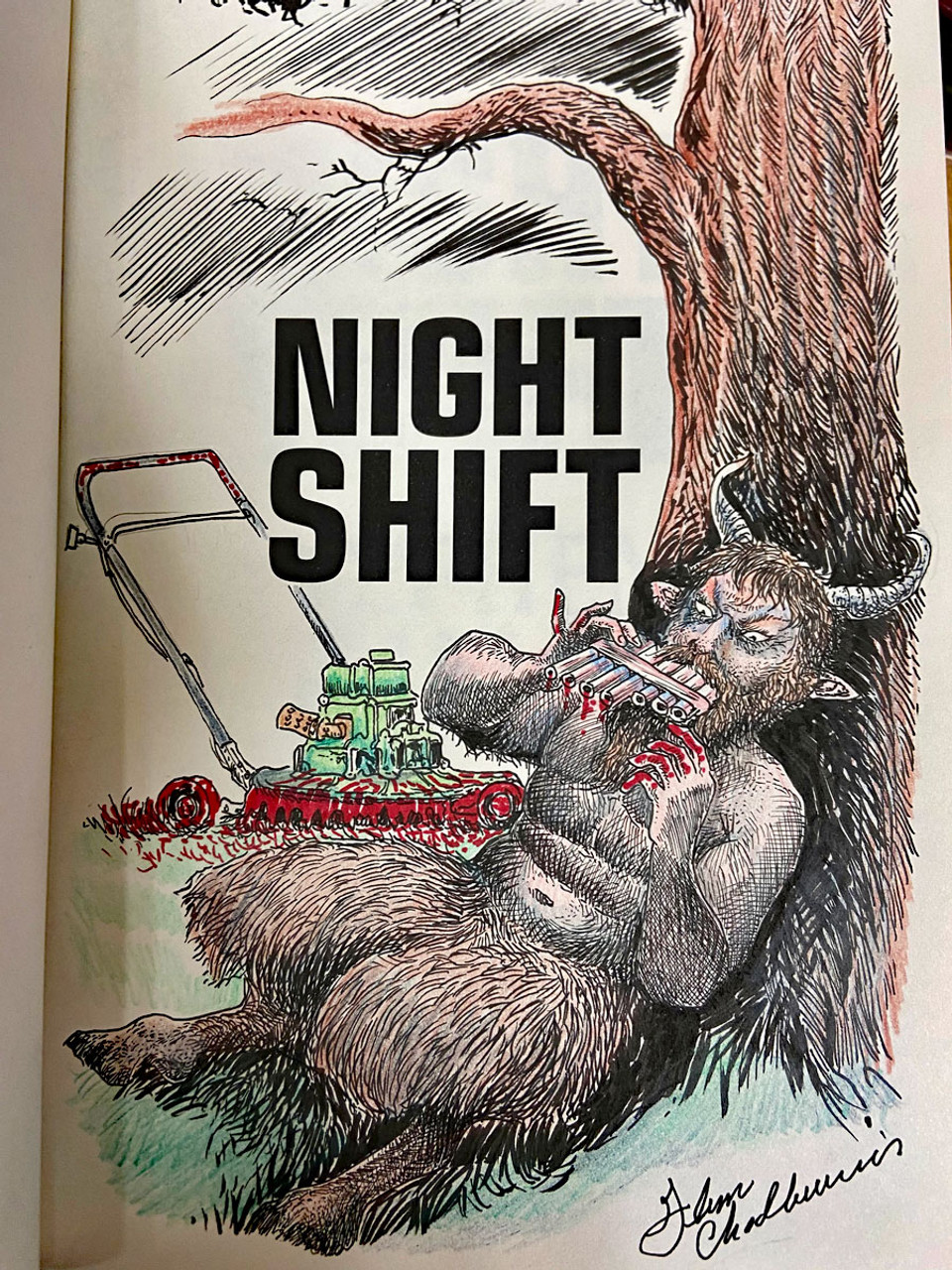 """Stephen King """"Night Shift"""" Signed & Remarqued by Glenn Chadbourne, Full Color 1-Page Remarque, The Deluxe Special Limited Slipcased Gift Edition of 3,000 [Very Fine]"""