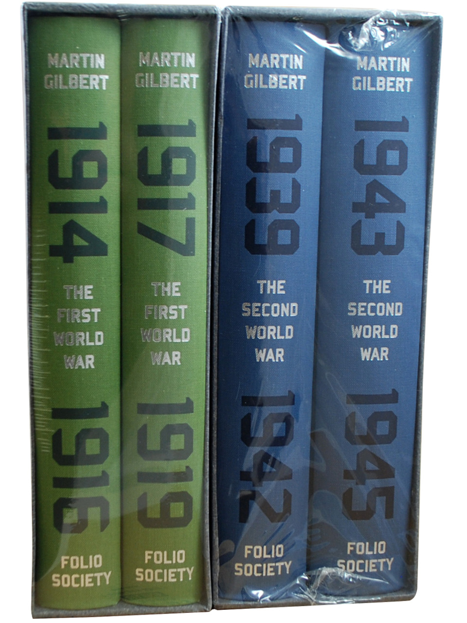 """Martin Gilbert """"The First World War"""" & """"The Second World War"""" Slipcased Deluxe Limited Edition, 4-Vol. Matched Set [Sealed]"""
