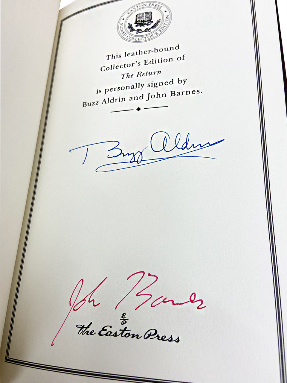 """Buzz Aldrin and John Barnes """"The Return"""" Signed Limited Edition, Leather Bound Collector's Edition w/COA"""