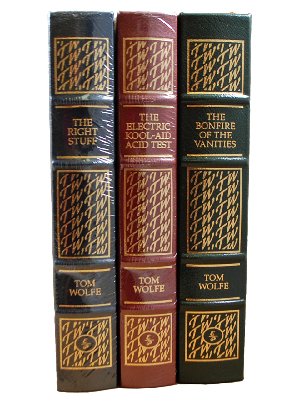 """Easton Press, Tom Wolfe """"The Electric Kool-Aid Test"""", """"The Bonfire of Vanities"""", """"The Right Stuff"""" Limited Edition, Leather Bound Collector's Edition, 3 Vol. Matched Set [Sealed]"""