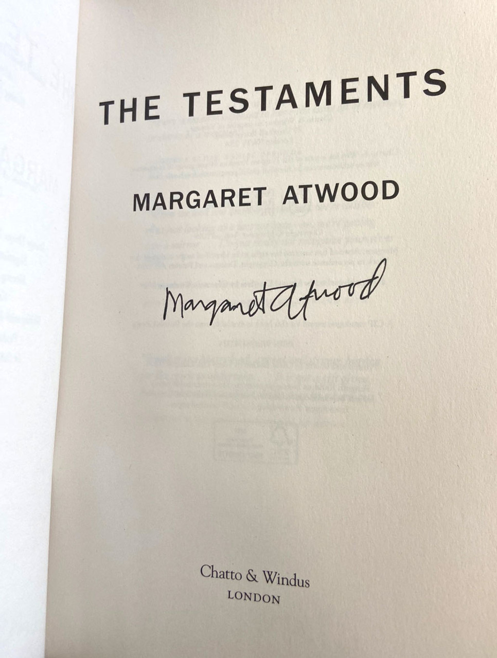 """Margaret Atwood """"The Testaments"""" UK Signed First Edition, First Printing"""