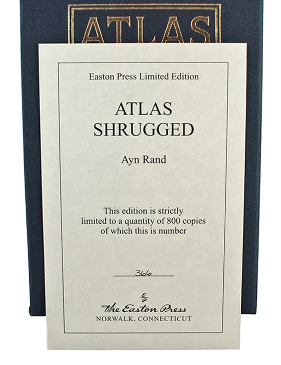 """Easton Press, Ayn Rand """"Atlas Shrugged"""" Deluxe Limited Edition #366 of only 800 w/Slipcase (Very Fine)"""