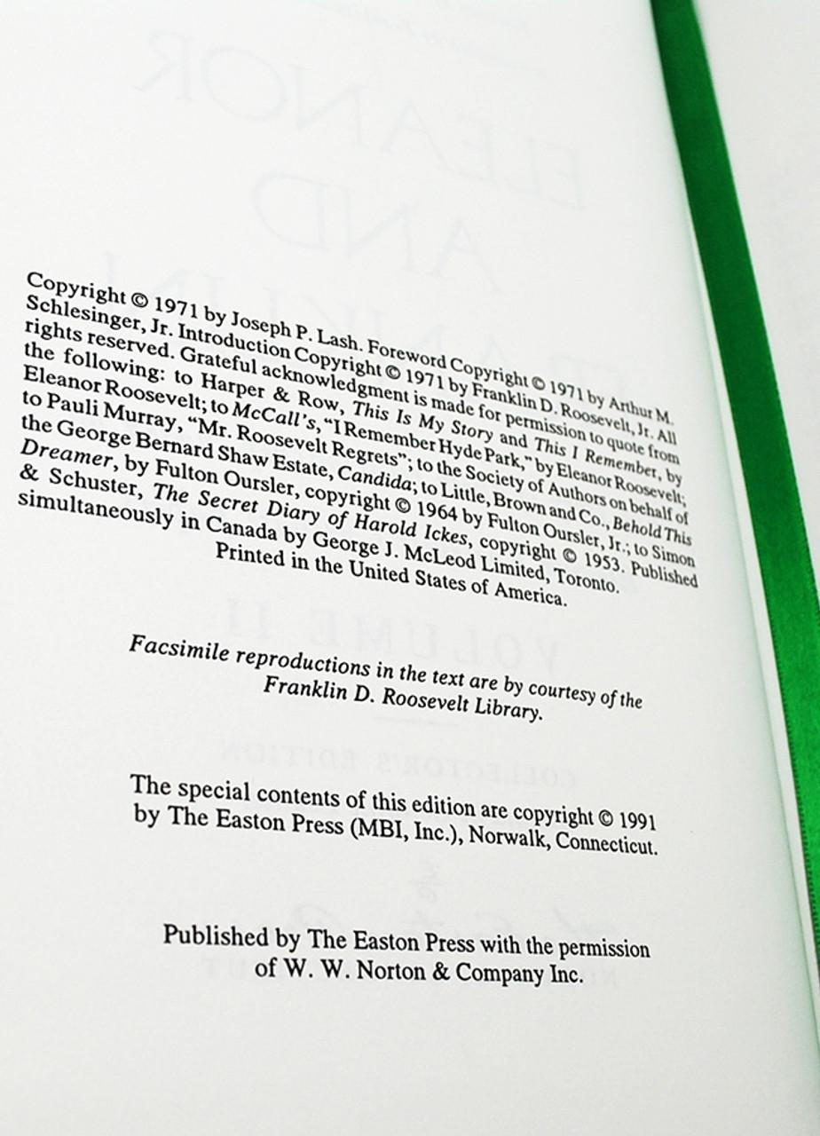 "Easton Press Joseph P. Lash ""Eleanor and Franklin"" 2 volume set"