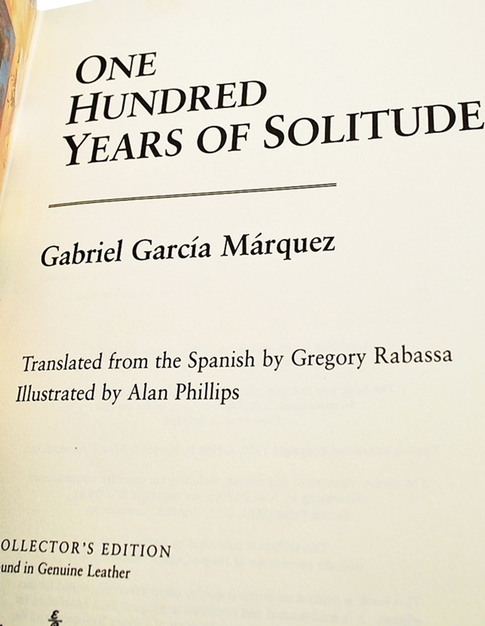 """Gabriel Garcia Marquez """"One Hundred Years of Solitude"""" Leather Bound Collector's Edition w/Notes [Very Fine]"""