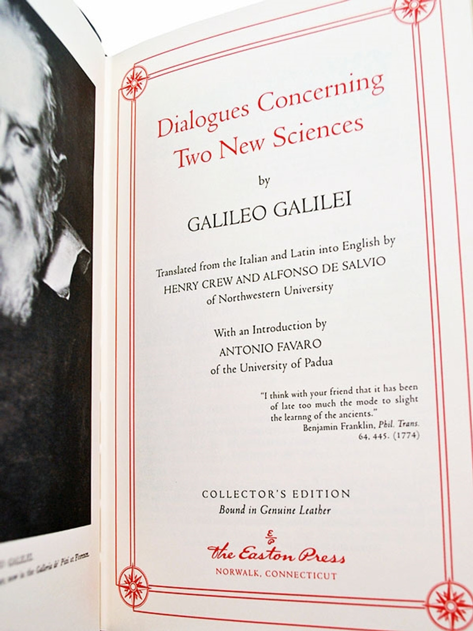 """Easton Press, Galileo Galilei """"Dialogues Concerning Two New Sciences"""" Leather Bound Collector's Edition"""