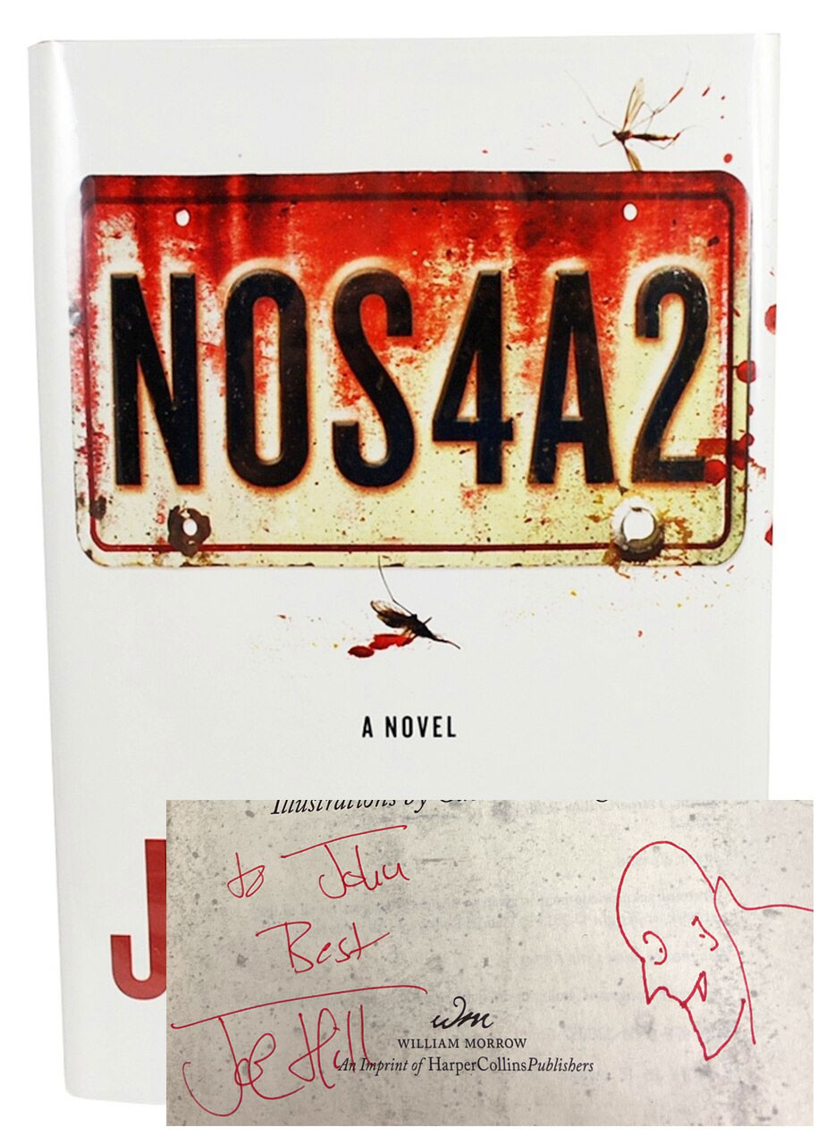 """Joe Hill """"NOS4A2"""" Signed First Edition, First Printing + Doodle Sketch w/COA, Archival Sleeve Protection [Very Fine]"""