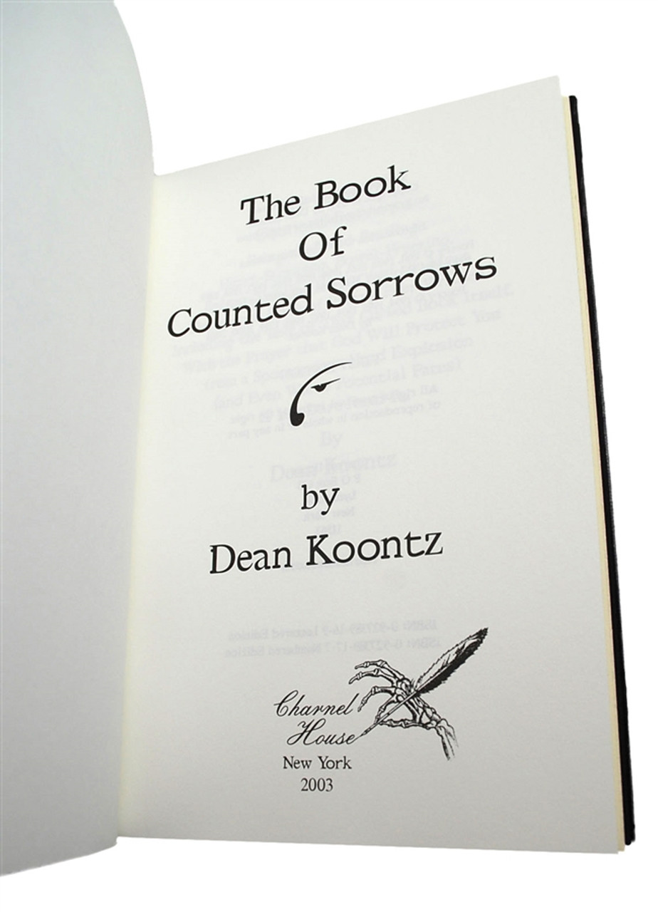 """Dean Koontz """"The Book Of Counted Sorrows"""" Signed Lettered Edition J of only 26, Leather Bound Collector's Edition, Tray-cased  [Very Fine]"""