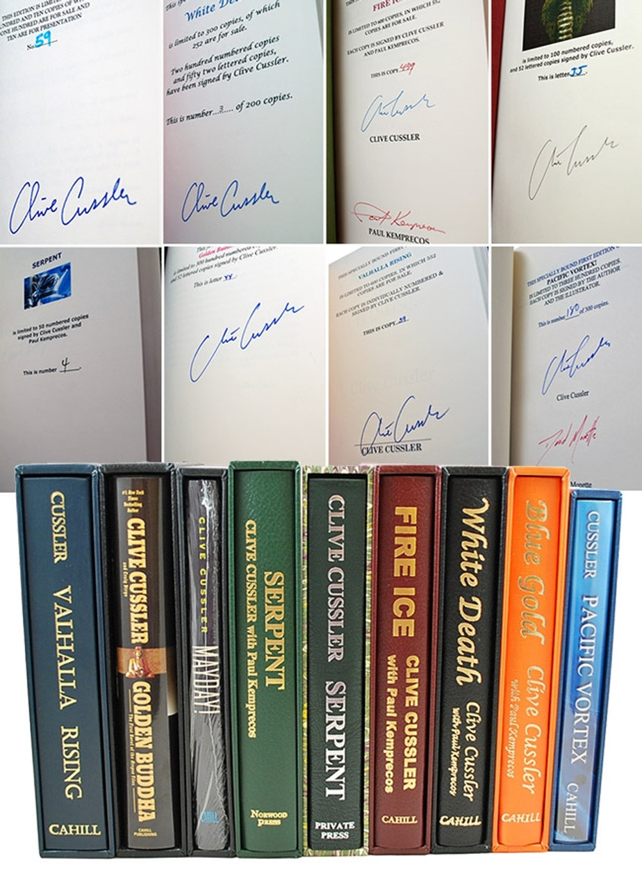 Clive Cussler 9 Volume Set of Signed Limited Editions in slipcases  [Very Fine]