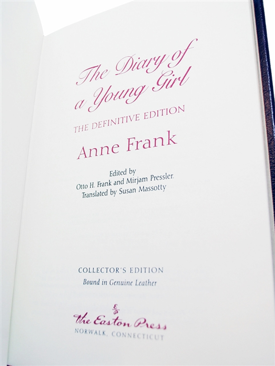 """Easton Press, Anne Frank """"The Diary of A Young Girl: The Definitive Edition"""" Leather Bound Limited Edition [Very Fine]"""